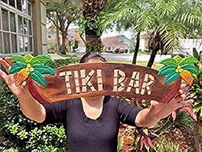 Waaa ,13x51cm, Tiki Bar Sign 20 x 5 Madera Tallada y Pintada a Mano Tiki Bar con Palm Trees decoración de Pared Sign! Estatua Tiki para decoración del hogar 813349