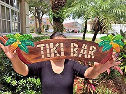 Not Branded Letrero Tiki de 13 x 50 cm, 20 x 5 cm, madera tallada y pintada a mano Tiki bar con palmeras Sign! Tiki Statue e Ornaments Placa decorativa para colgar en la pared Cartel de madera 844561