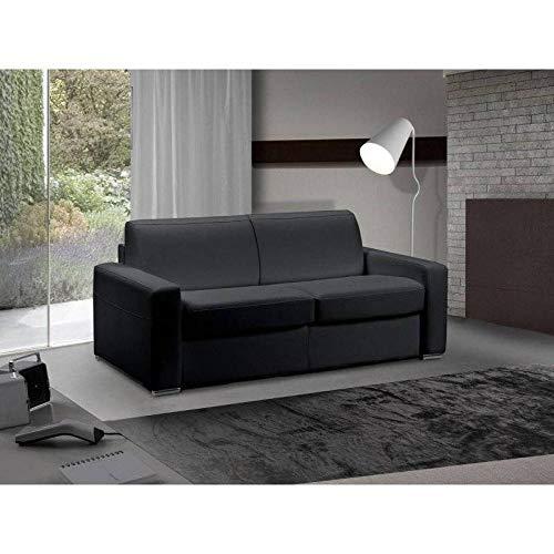 Canapé lit 3 Places Master Convertible Ouverture RAPIDO 140 cm Cuir Eco Noir Matelas 18 CM Inclus