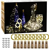10 Stück LED Flaschenlicht, Lichterkette Kupferdraht batteriebetriebene Weinflasche Lichter mit Kork Schnurlicht für DIY Weihnachten Party Urlaub Stimmungslichter (Warmweiß)