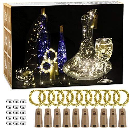((10 pezzi) Luci per Bottiglia, 2M, 20 LED, Tappi LED a Batteria per Bottiglie, Filo di Rame Led Decorative Stringa Luci da Interni e Esterni per Festa, Giardino, Natalizie, Matrimonio (Bianco Caldo)