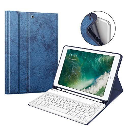 Fintie Tastatur Hülle für iPad 9.7 2018 (6. Generation), Soft TPU Rückseite Gehäuse Keyboard Case mit eingebautem Pencil Halter, magnetisch Abnehmbarer QWERTZ Bluetooth Tastatur, Jeansoptik indigoblau