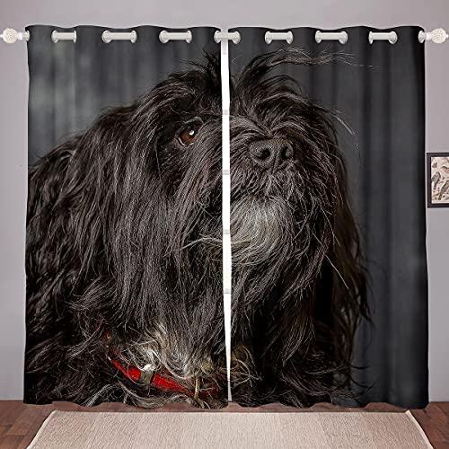 Cortinas negras de pelo largo para ventana de perro, para niños, niñas, adolescentes, microfibra, poliéster, lindas cortinas para ventana de dormitorio, sala de estar, 100 x 172 cm