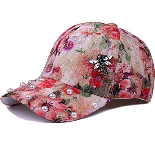 JYTBD Sombreros de Boutique al Aire Libre - Gorra de béisbol Primavera Verano Gorra de béisbol Mujeres Taladro de Vidrio Sombrero de Abeja Gorra para niñas Floral Perla Hueso Hip Hop Cap