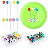 AOIBRLOY Magnetic Sewing Pincushion with 200 Pieces Flat Head Straight Pins