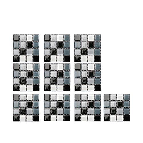 Fossen 10 Piezas Pegatinas de Azulejos, Calcomanías de Azulejos Mosaico Retro Estilo Marroquí Autoadhesivo Azulejo Transferencias Pegatinas DIY Para Cocina Baño Decoración del Hogar - 10 x 10cm