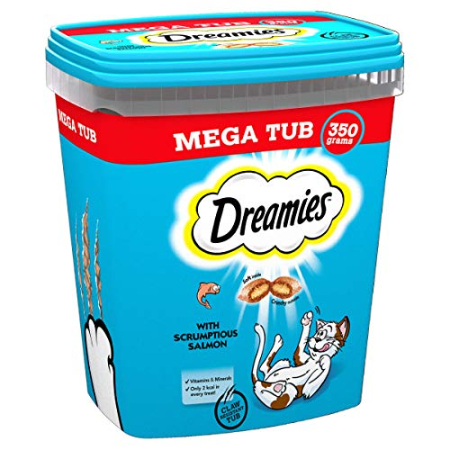 Dreamies Cat Treats, Tasty Snacks with Delicious Salmon, 2 Tubs of 350 g