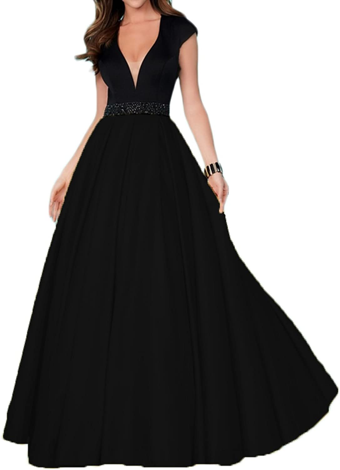Alilith.Z Sexy V Neck Open Back Prom Dresses A Line Beaded Long Formal Evening Party Dresses for Women with Pockets