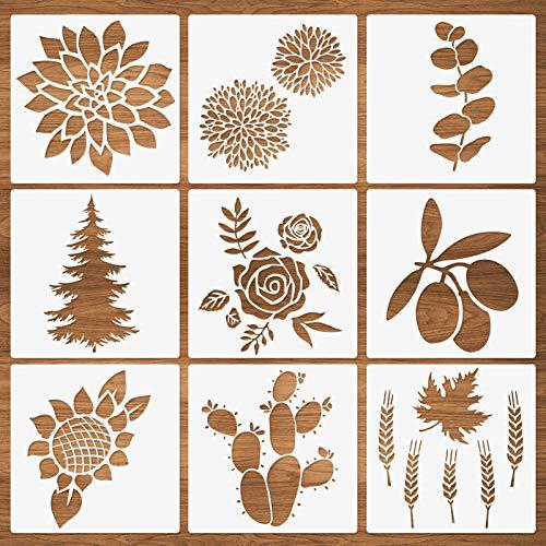 Blumen Pflanzen Blatt Schablonen, 9 Packungen Rose Sonnenblume Ahorn Blatt Baum Kaktus Sukkulenten Weizenmuster Wiederverwendbare Vorlagen zum Malen auf Holzkartenherstellung Möbel DIY-Projekte