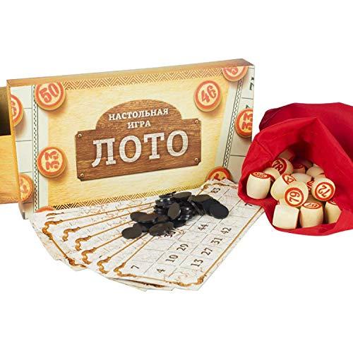 compar Bingospiel Lottospiel Russisches Lotto (Loto) Spielset mit Holzfiguren Familienspiel