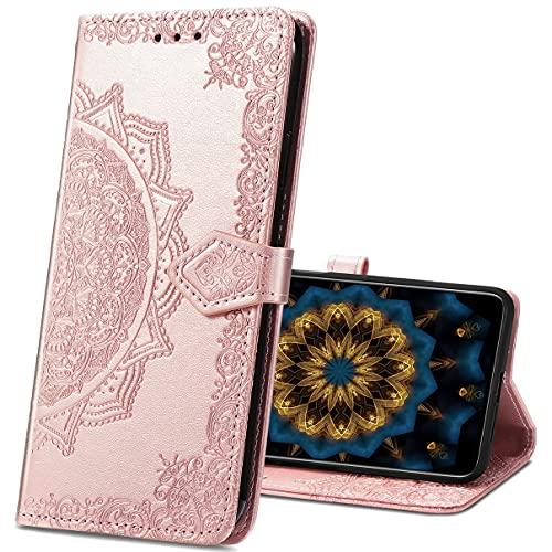 MRSTER Samsung J2 Pro Hülle, Premium Leder Tasche Flip Wallet Hülle [Standfunktion] [Kartenfächern] PU-Leder Schutzhülle Brieftasche Handyhülle für Samsung Galaxy J2 Pro 2018. SD Mandala Rose