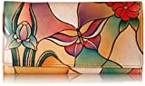 Anna by Anuschka Women's, Handpainted Leather MultipocketWallet,butterfly Glass Painting, One Size