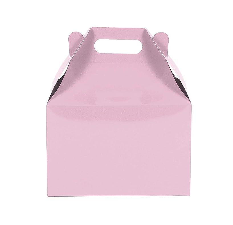 12CT (1 Dozen) Large Biodegradable Kraft/Craft Favor Treat Gable Boxes (Large, Light Pink)