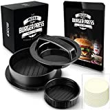 MiiKO Stuffed Burger Press with 20 Free Burger Patty Papers and Recipe E-Book - 3 in 1 Burger Press/Slider Press/Hamburger Maker