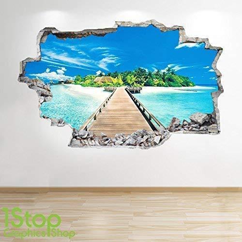 1Stop Graphics Shop Paradise Beach Jetée Autocollant Mural 3D Look - Océan Mer Plage Chambre Salon Z51 - Large: 70 cm x 111 cm