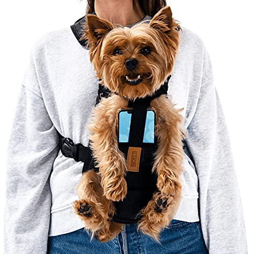Blascoe Pet Backpack Carrier for Small Dogs 4-6 lbs with Cell Phone Holder - Perfect for Yorkie, Papillon, Chihuahua, Maltese and More - Legs Out Travel Bag for Cats, Puppy - Front and Back Harness