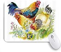 PATINISAマウスパッド 農場の動物の鶏と白い背景の上の草のオンドリ ゲーミング オフィス おしゃれ 防水 耐久性が良い 滑り止めゴム底 ゲーミングなど適用 マウス 用ノートブックコンピュータマウスマット