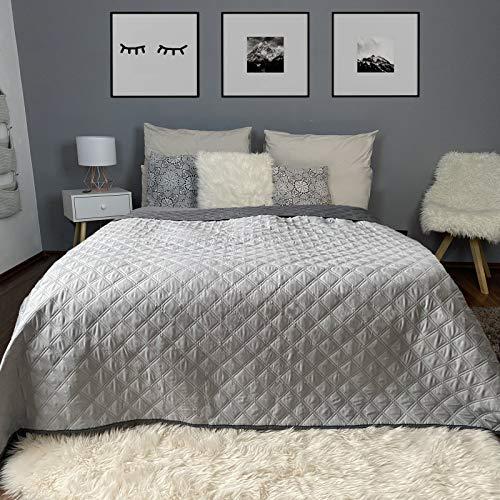 HOMELEVEL Tagesdecke Bett und Sofaüberwurf Bettüberwurf Sofa Tages Decken Betthusse XXL Decke Überwurf (240cm x 220cm, Grau/Dunkelgrau)