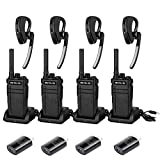 Retevis RB37 Bluetooth Walkie Talkie, Long Range Radio with Wireless Bluetooth Headset, Wireless Clone, 2000mAh USB Rechargeable Two Way Radio for Warehouse, Security (4 Pack)