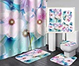 Hübsche Pfirsichblüte Duschvorhang Set 4-Teilig, Duschvorhang Wasserdicht + Badematte + U-Förmige Konturmatte + Toilettensitzbezug + 12 Haken