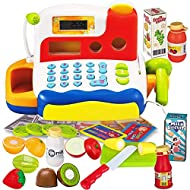 FUNERICA Durable Cash Register Toy for Kids   with Electronic Sounds, Microphone, Scanner, Calculator, Pretend Play Food Toys, Cuttable Fruits, Cashier Toy, Play Money, & Grocery Toys
