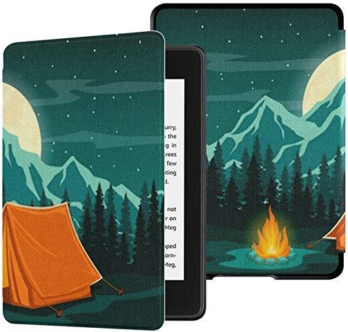 Geheel nieuwe Kindle Paperwhite Waterveilige stoffen hoes (10e generatie, release 2018), Family Adventure Camping Avondscène Tent Tablet Case