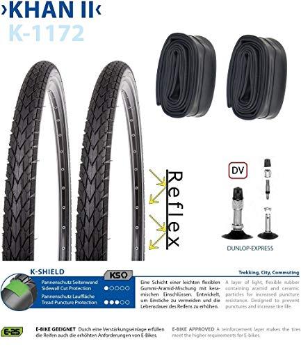 P4B | Komplettes 28 Zoll Fahrradreifen - Set = 2X 42-622 (28 x 1.60) Fahrrad Reifen mit Pannenschutz + Reflexstreifen | 2x Schläuche 28 Zoll | DV 40mm | FORMGEHEIZT
