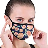 Fondo de duraznos de acuarela sin costuras con fondo azul marino de tela media cara máscara bucal con orejeras anti polvo anti niebla máscara a prueba de viento