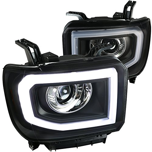 Black Projector Headlights w/LED Signal DRL Made For And Compatible With GMC Sierra 1500 2500HD 3500HD Pickup