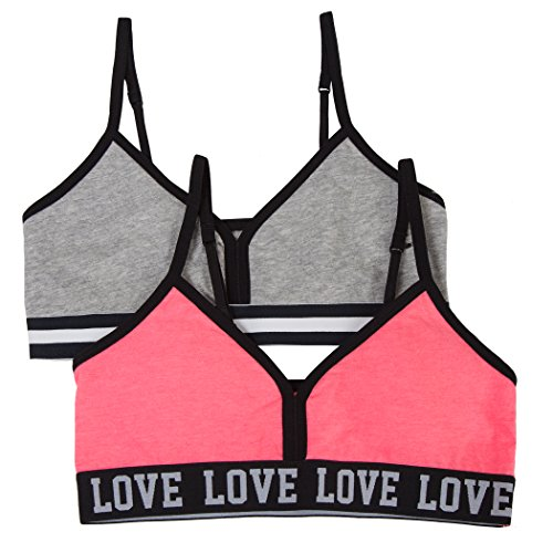 Fruit of the Loom Big Girl's Banded Wire-Free Bra (Pack of 2) Bra, Popsicle Pink/Heather Grey, 38