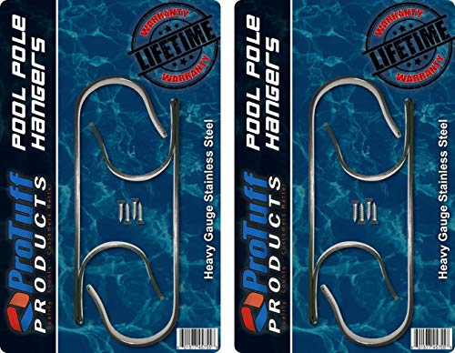 Stainless Steel Pole Hangers - Unlimited Free Replacements – 2 ProTuff Heavy Duty Double Hooks, Ideal Holder Set for Swimming Pool Telescopic Poles, Leaf Rakes, Brushes, Vacuum Hose & Garden Tools