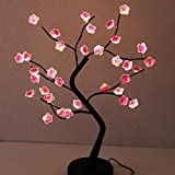 AMARS 18 Inch Desk Table LED Cherry Blossoms Bonsai Tree Lamp Flowers Lights Battery and USB Plug Operated Decorative 36leds Artificial Tree Decoration for Bedroom Living Room Home (Lighted Branches)