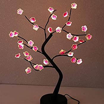 AMARS 18 Inch Tabletop LED Cherry Blossoms Bonsai Tree Lamp Battery/USB Plug Operated Decorative 36 LED Fairy Artificial Flowers Lighted Tree for Gift Bedroom Home Christmas Party Decoration