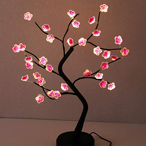 AMARS 18 Inch Tabletop LED Cherry Blossoms Bonsai Tree Lamp, Battery/USB Plug Operated, Decorative 36 LED Fairy Artificial Flowers, Lighted Tree for Gift Bedroom Home Christmas Party Decoration