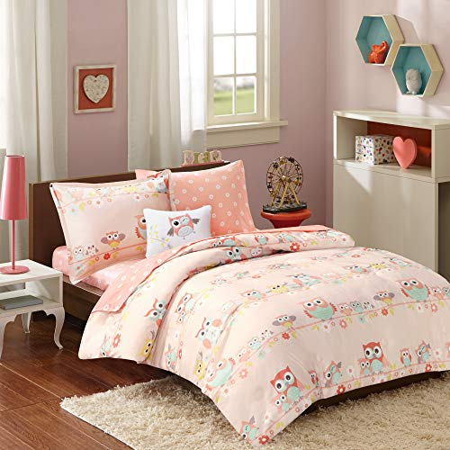 Mi Zone Kids Wise Wendy Comforter Reversible Bag Cute Owl Flower Floral Botanical Happy Printed Ultra-Soft Overfilled Down Alternative Hypoallergenic All Season Bedding-Set, Twin, Blush