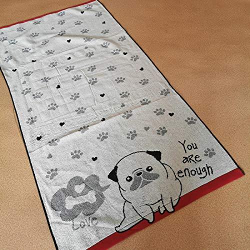Toalla de baño de algodón Suave y Agradable para la Piel de Rizo de Doble Cara 60 * 120 Color Gordo del Borde del Perro al Azar