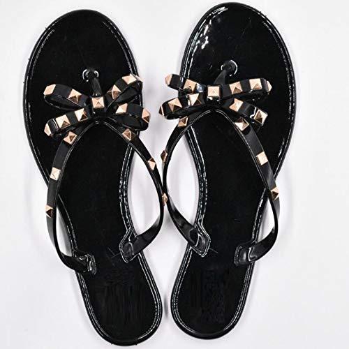 QIMITE Damen-Zehentrenner Mode Frau Flip Flops Sommer Schuhe Coole Strand Nieten Big Bug Flache Sandalen Marke Jelly Schuhe Sandalen Mädchen 35-43 Schwarz Größe, Photo Color, 39