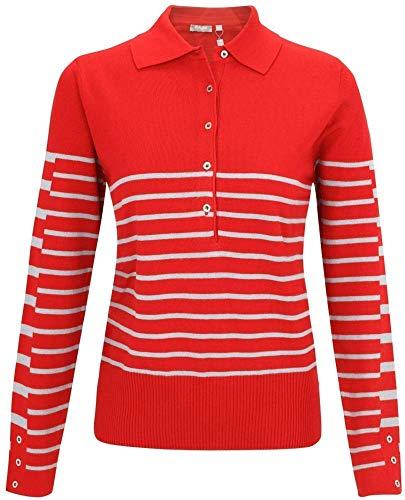 Rabe, Poloshirt mit klassischer Knopfleiste Farbe rubinrot, Größe 46