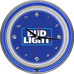Bud Light 14 Inch Neon Wall Clock - Block Text Blue Silver White Unisex Chrome Glass