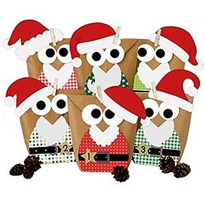 Calendario de Adviento DIY - con búhos navideños - Navidad 2018 - Set Rojo Papá Noel - para personalizarlo