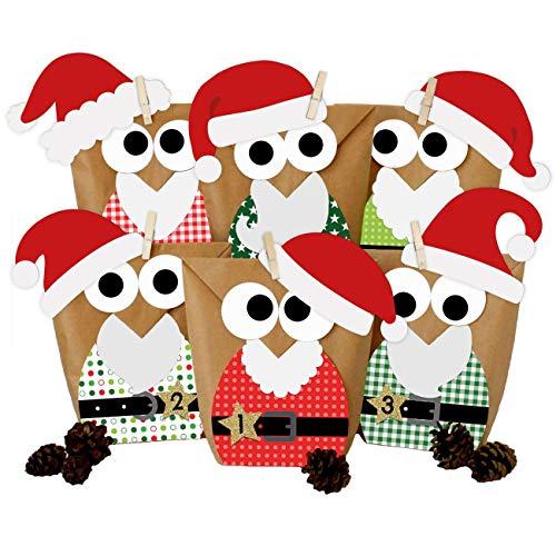 Papierdrachen DIY Adventskalender zum Befüllen - Weihnachtseulen - Eulen Weihnachten 2019 - Set Rot Nikolaus - zum selbst basteln - für Kinder