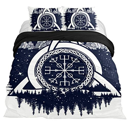 Anna Cowper Celtic Trinity Vikings Travelers Mascot Bedding 3 Piece Duvet Cover Set California King Size,Comforter Cover with Zipper Closure, 4 Corner Ties