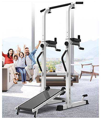 NENGGE Power Tower Workout Pull Up & Dip Station Adjustable Height Multi-Function Home Gym Strength Training Fitness Exercise Equipment with Treadmill Design, Support Up to 300kg