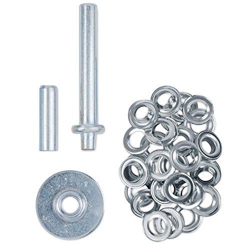 Ösenstanze Einschlagwerkzeug + Lochstanze + 30 Einschlagösen - Geeignet für Ösen mit Innendurchmesser von ca. 12,5 mm - Stahl Chrom