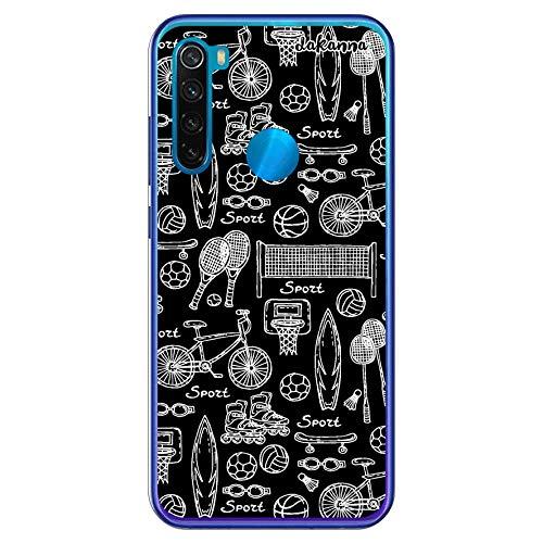 dakanna Funda para [Xiaomi Redmi Note 8] de Silicona Flexible, Dibujo Diseño [Patron Figuras Deportivas Tenis Baloncesto Patinaje], Color [Borde Transparente] Carcasa Case Cover de Gel TPU