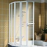 Schulte Duschabtrennung faltbar für Badewanne, 115 x 140 cm, einfacher Aufbau, 3 mm Sicherheitsglas Dekor Querstreifen, alpinweiß, Made in Germany