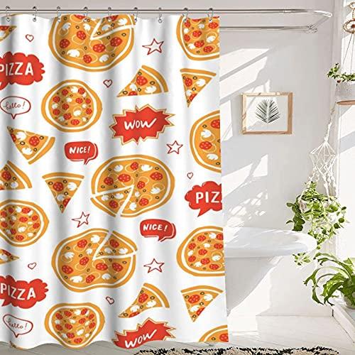 Duschvorhang Pizza Shower Curtain Bathroom Shower Curtain, Pizza That Erscheinungsbilds Very Delicious, Premium Polyester Waterproof Pizza Shower Curtain, 72x72 in,Orange