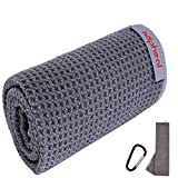 """haphealgolf Golf Towel 16"""" x 21"""" Microfiber Waffle, Tri-fold with Carabiner Clip, Golf Bag Towels for Hanging on Golf Club Bags"""