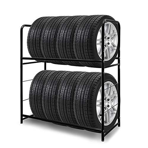 BMOT 1x Reifenständer Reifenregal für 8 Reifen Lagerregal Felgenregal Felgenbaum Höhenverstellung Lagerregale 107 x 46 x 117cm, Ladekapazität 180kg, mit Reifenschutzhülle, für Keller Garage
