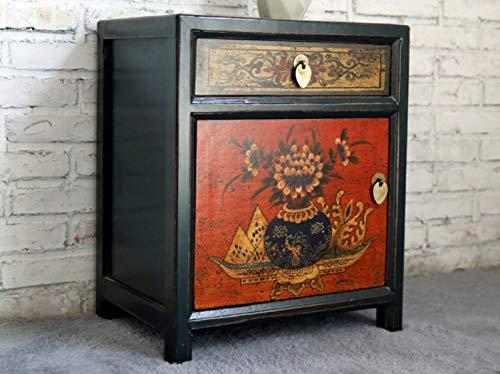 OPIUM OUTLET Cómoda de noche asiática china, cómoda de noche oriental, cómoda de dormitorio, estilo vintage, color negro, beige y multicolor